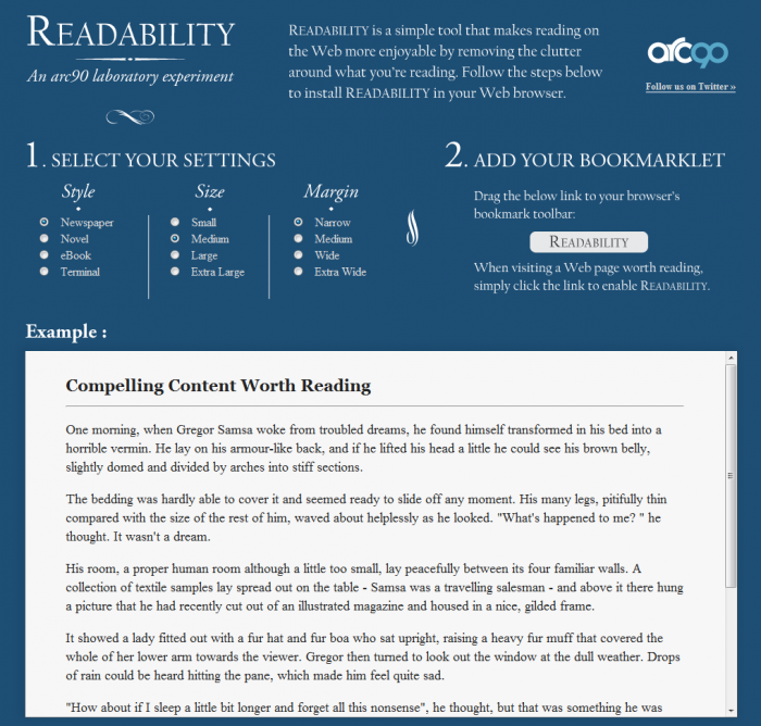 Readability screenshot
