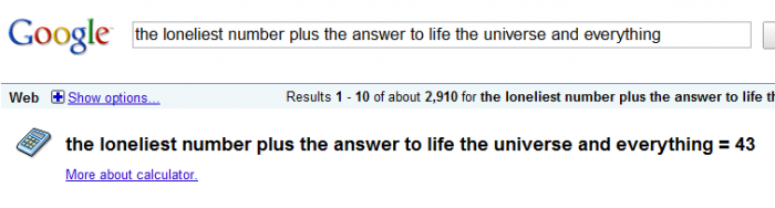 The Loneliest Number plus The Answer to Life